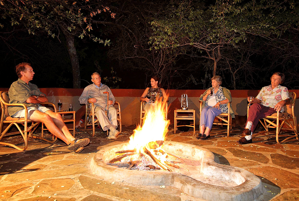 Camp fire at Melorani Safaris hunters lodge